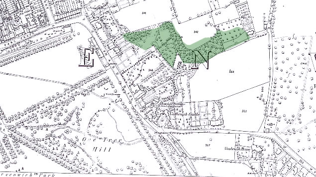 History of Westcombe Woodlands - Map 5 1869: A larger house (called Woodlands) is now shown on the site of Williams Lodge. This detailed Ordnance Survey map shows in some detail that the Westcombe Woodlands were a mixture of dense woodlands, formal gardens, orchard and small holdings. The fences between the narrow strips of land just south of plot 341 are still visible today as a zig-zag path in the north-west corner of the Westcombe Woodlands. Please note the green shaded area shows the current boundaries of the Westcombe Woodlands.